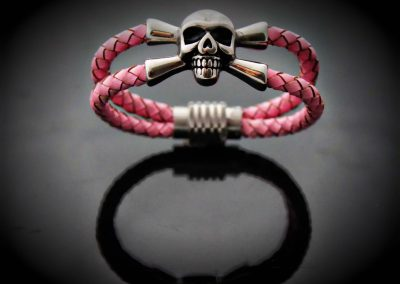 pink leather pirate skull